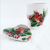 Robin mug and coaster set, Christmas gift set