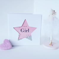 New baby girl card, it's a girl card Pink baby girl card, congratulations
