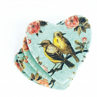 Floral bird coaster set, stone coasters, set of 4 heart shaped coasters, teal