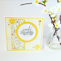 Yellow birthday card, happy birthday card, floral birthday card, female birthday