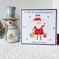 Personalised Christmas card for grandson, grandson Christmas card,  santa card,