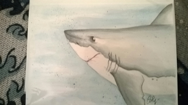great white shark water colour card