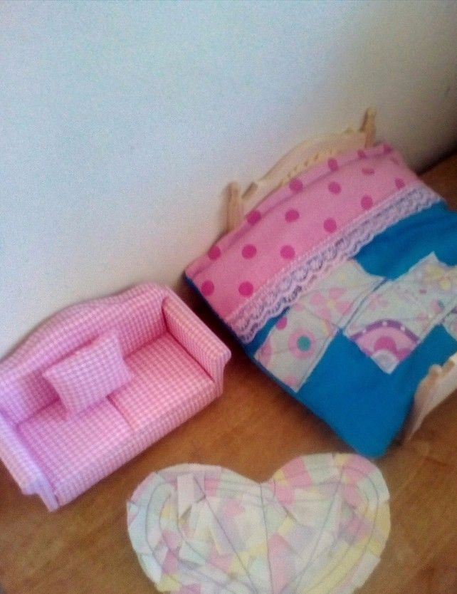 Dolls house bedding set and matching rug