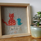 "Hand appliqued cat and dog ""Best Friends"" Framed Wall Decor"