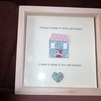 Framed Home Decoration - A home is made of love and dreams, new home gift PINK