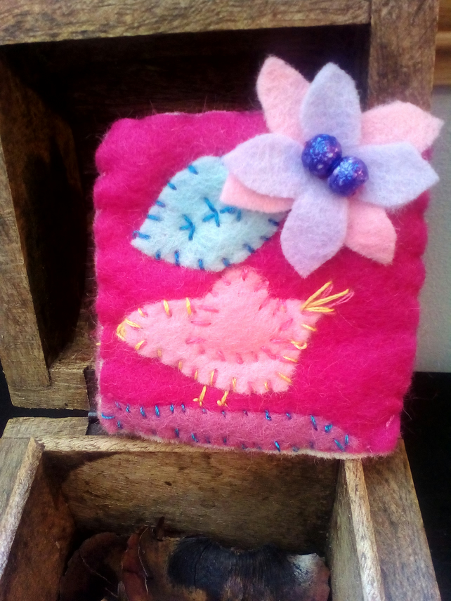 Pink Wool Felt Flower Birdie Brooch