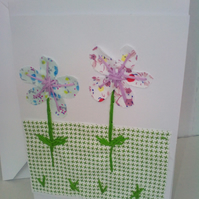 Applique art card with two flowers