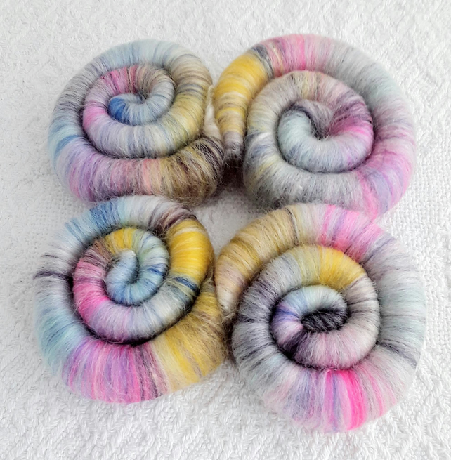 'Jelly Bean' Wool Rolags, hand pulled 100 grams