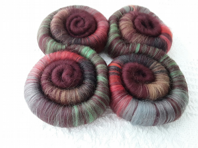 'Autumn across the Valley' Wool Rolags, hand pulled 100 grams