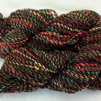 Hand spun yarn.DK weight. Super soft merino wool and Black Welsh Mountain wool.