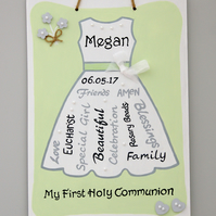 First Communion Gift. Holy Communion Dress. Personalised First Communion Plaque