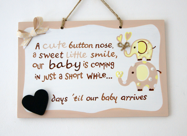 Baby Countdown Sign. Count down to Baby Plaque. Pregnancy Chalkboard Sign.