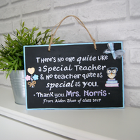 Personalised Teacher Gift. Hand-painted Wall Plaque for Teacher. Thank you Gift