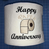 Novelty Embroidered Toilet Roll 'Happy Paper Anniversary