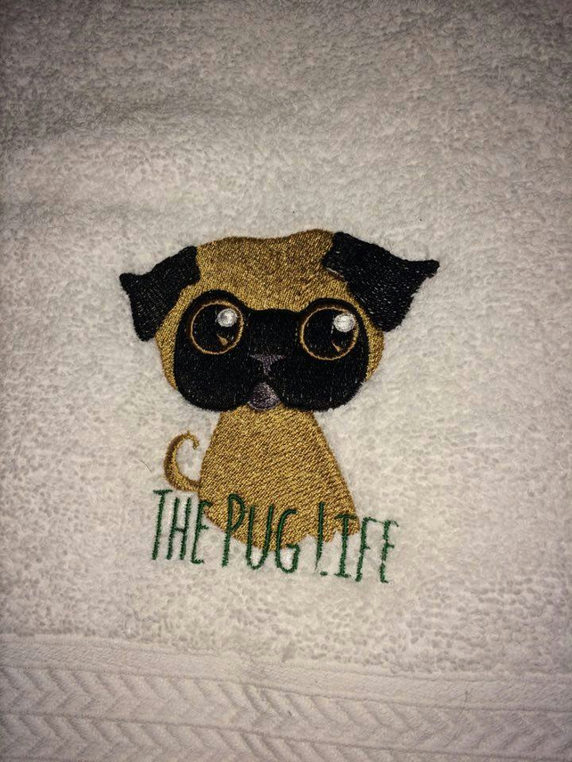 Embroidered Pug Bath Towel