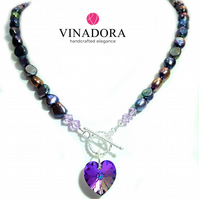 Purple Freshwater Pearl Necklace with Swarovski Purple Heart Pendant