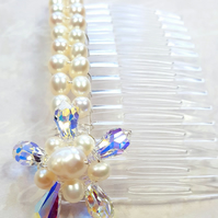 Swarovski Crystal Flower Pearl Hair Comb Wedding-Bridal-Holy Communion