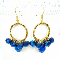 Blue and gold beaded cluster earrings