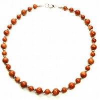 Goldstone Gemstone beaded necklace