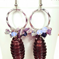 Purple Statement Cluster earrings featuring Swarovski® Crystals