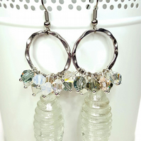 White beaded cluster earrings featuring Swarovski® crystal