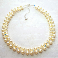 Cream Pearl Bridal Choker made with Swarovski® Crystals and Pearls