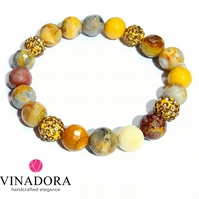 Agate gemstone stacking bracelet with pave disco balls