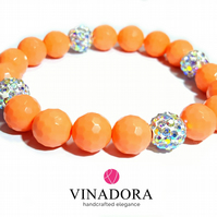 Coral beaded stacking bracelet