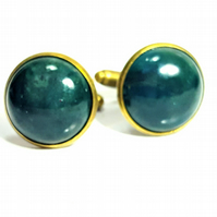 Men's Green Moss Agate Antique Bronze Cufflinks