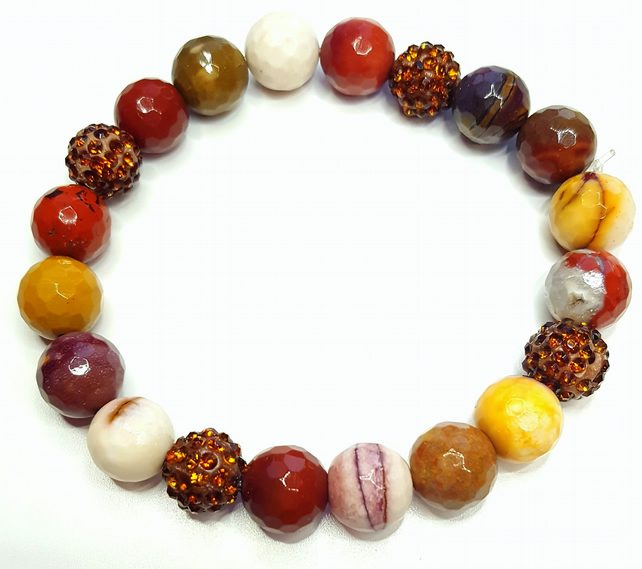 Mookaite Gemstone beaded stacking bracelet