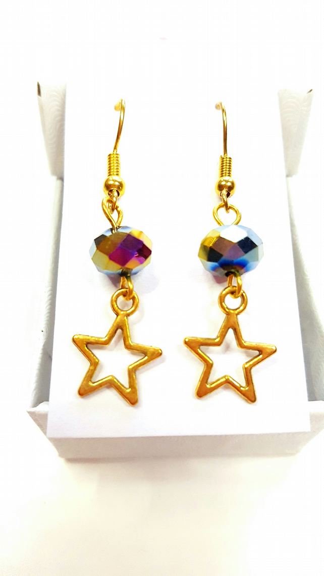 Multi-Coloured gold plated star beaded dangle earrings