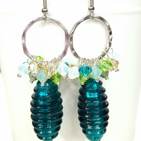 Teal Green Statement Cluster Earrings featuring Swarovski Crystals & glass beads