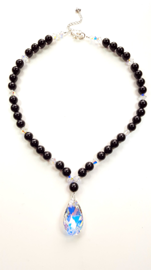 Black Pearl and Crystal Necklace set made with Swarovski Crystals & Pearls