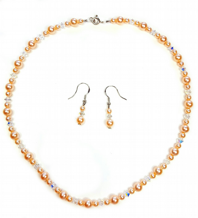 Peach Pearl Necklace set featuring Swarovksi crystals and pearls