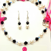 Black and White Pearl and Crystal necklace set with Swarovski Crystals & Pearls