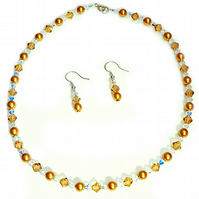 Swarovski Crystal Necklace set (Dark Gold Bronze) women's necklace
