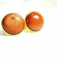 Large statement gemstone cufflinks made with Goldstone