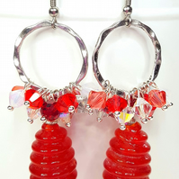 Red Statement Cluster earrings with Swarovski crystals and glass beads
