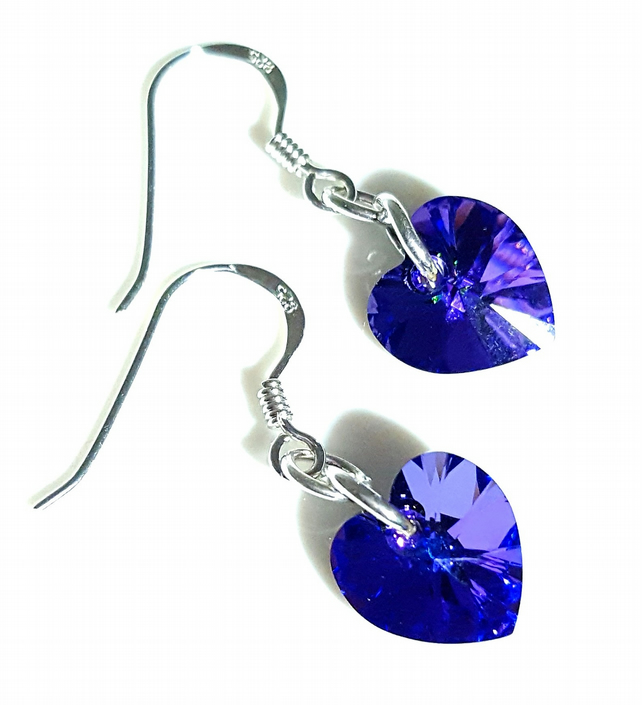 Crystal Heart Earrings Featuring Swarovski Crystals And Sterling Silver