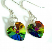 Green Multi-Coloured Crystal Heart earrings made with Swarovski Crystals