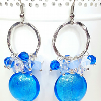 Blue and silver cluster earrings statement earrings with Swarovski Crystals