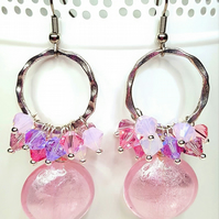 Pink and Silver Statement Cluster earrings with Swarovski Crystals