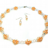 Peach Pearl Cluster Bridal Necklace made with Swarovski Crystals and Pearls