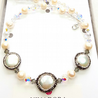Pearl Coin Rhinestone Bridal Statement Necklace