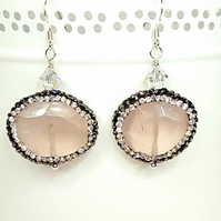 Sparkly Rose Quartz Gemstone statement dangle earrings