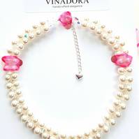 White Pearl and Crystal choker necklace with sterling silver clasp