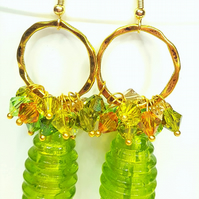 Green and gold glass statement cluster earrings with Swarovski Crystals