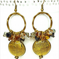 Bronze statement cluster dangle earrings with Swarovski crystals