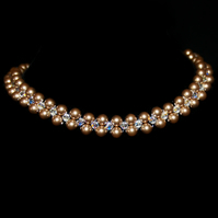 Bronze Pearl choker necklace featuring Swarovski Crystals and pearls
