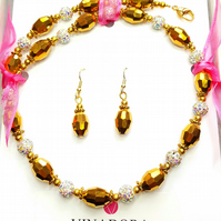 Gold sparkly beaded necklace and earrings gift set